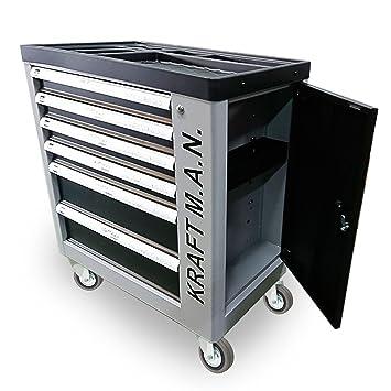 Carro de taller profesional con herramientas 245pzs incorporadas, con ruedas, armario lateral, cierre de seguridad en cada cajón y una cerradura ...