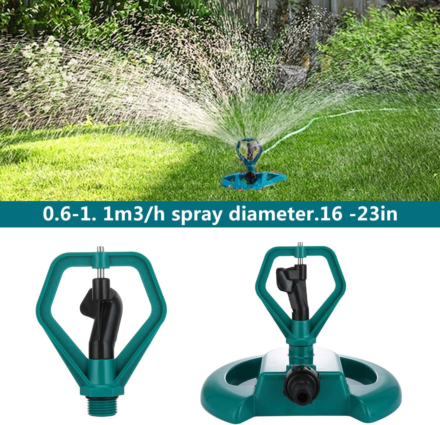 WISDOMWELL Pulsating Long Range Lawn Impact Sprinkler Head With 1//2 Provide 360 /¡/ã watering Of Your Garden/¡/¢farm/¡/¢nursery and more(2 Sprinkler Head)
