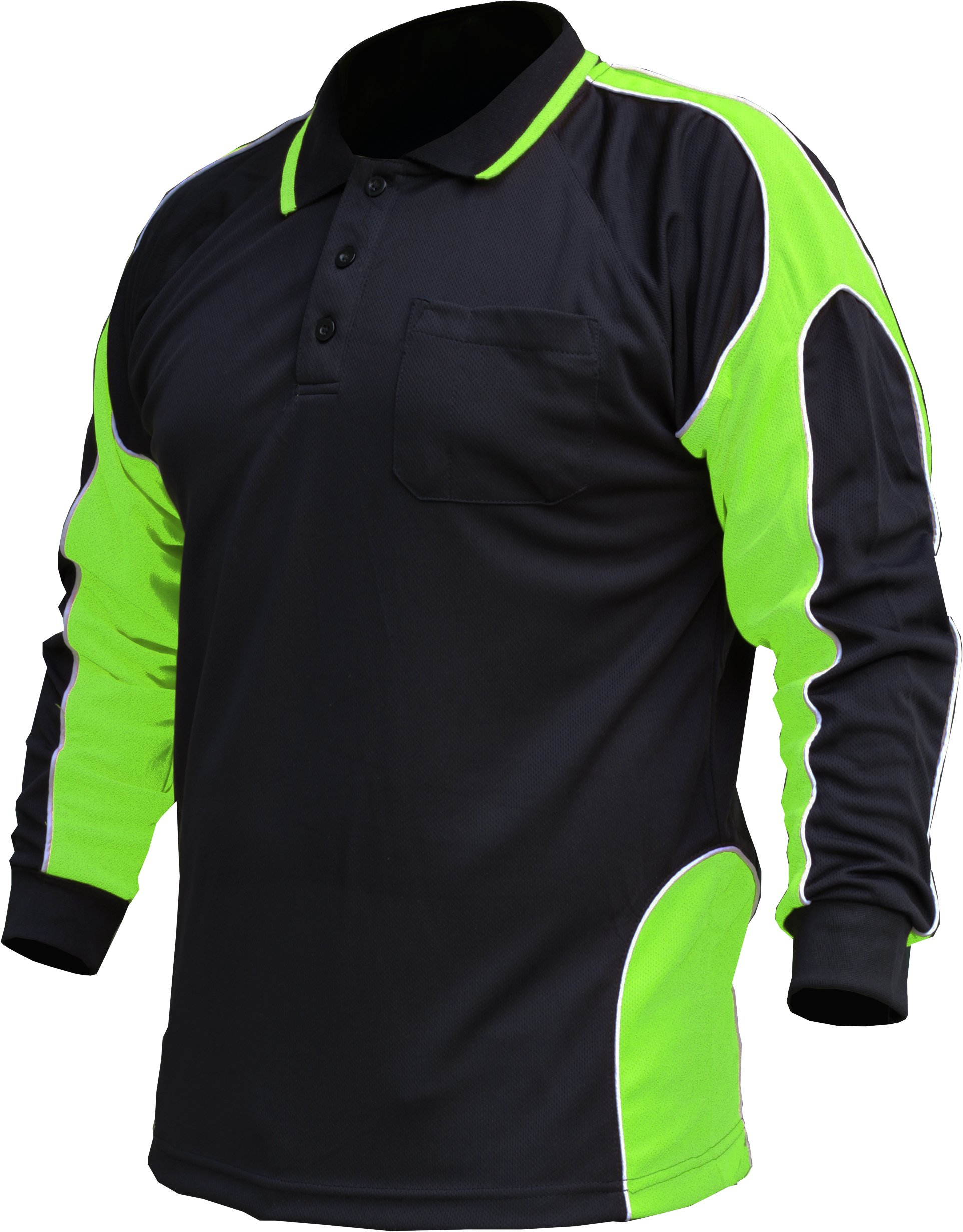 BIG BEE Hi Vis Polo Shirt Arm Panel with Piping Fluoro Work wear Cool Dry Long Sleeve (Pack of 2)