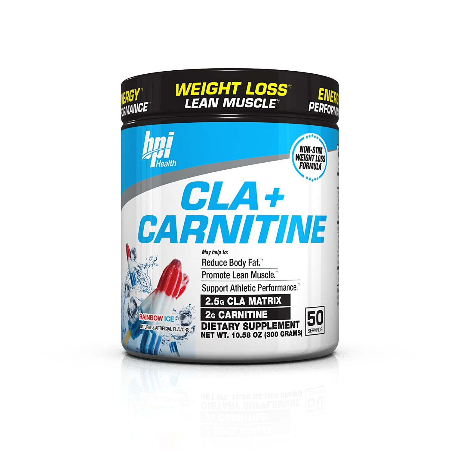 Bpi Sports Cla + Carnitine Non Stimulant Weight Loss Supplement Powder, Rainbow Ice, 11.29 Ounce by Bpi Sports