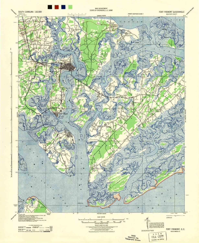 Amazon.com : YellowMaps Fort Fremont SC topo map, 1:62500 Scale, 15 ...