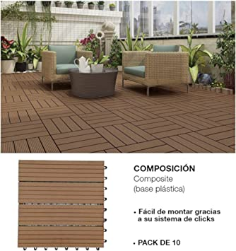 Comercial Candela 10 Unidades Baldosas Jardín para Terraza, Balcón, Suelo Exterior 31x31 cm 1 m²: Amazon.es: Deportes y aire libre