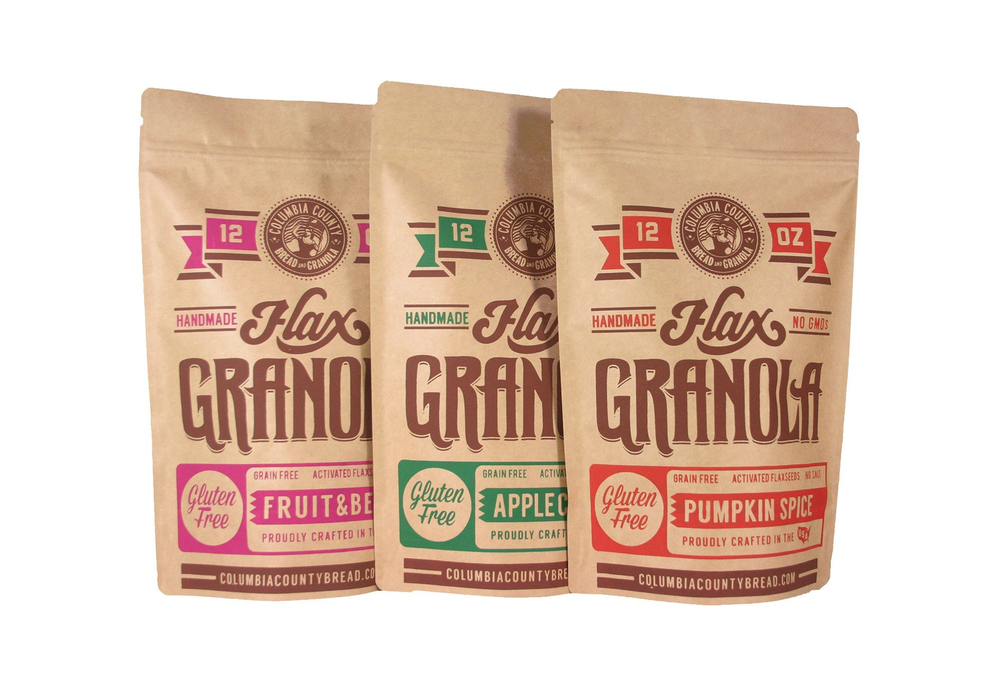 Flax Granola - Variety Pack: Fruit & Berry, Pumpkin Spice, and Apple Cinnamon - The Plan Friendly, Gluten Free - 12 oz, 3 pack by Columbia County Bread & Granola