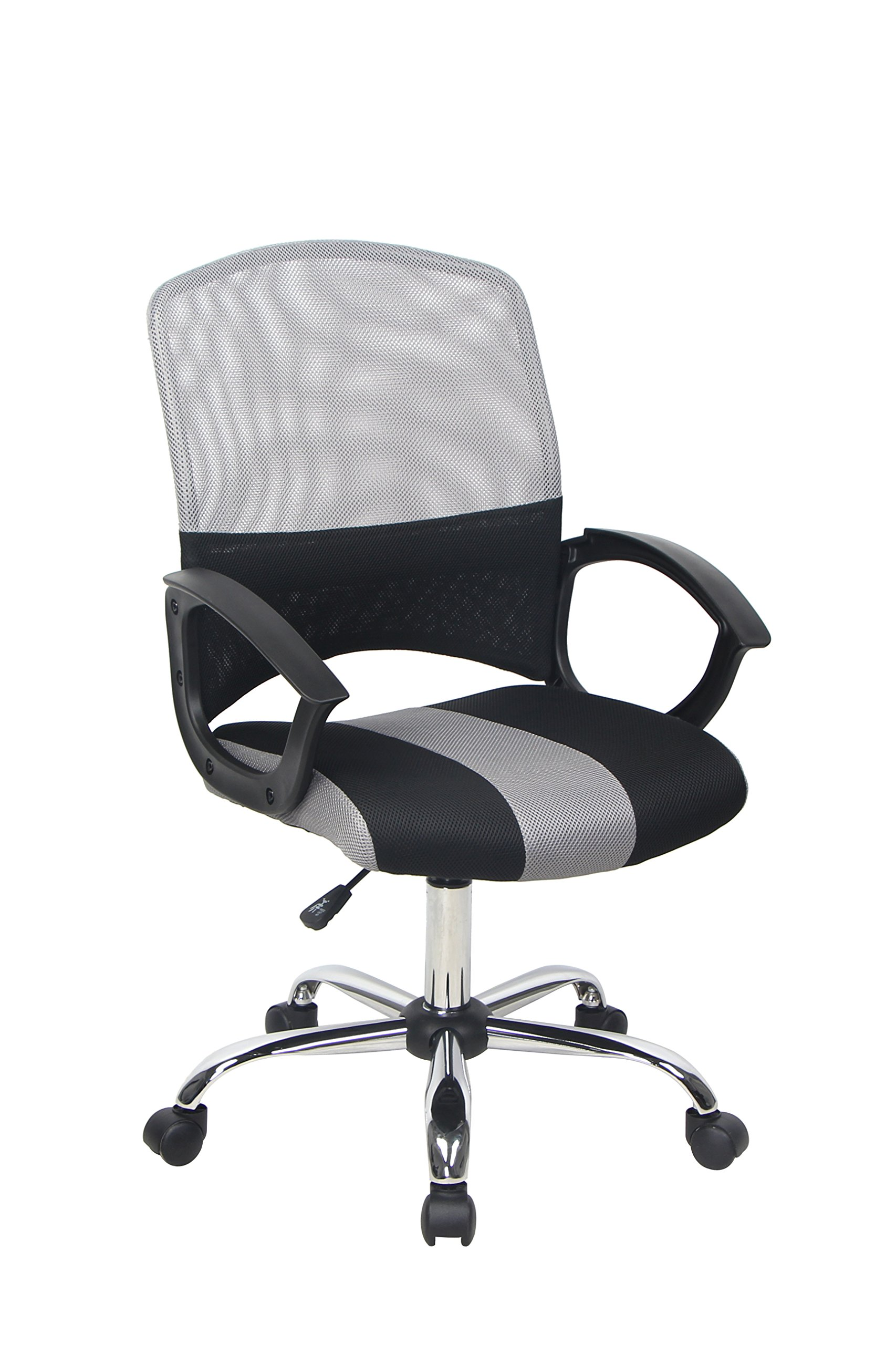 Bonum Ergonomic Office Desk Chair Adjustable Mesh Swivel Home Task Chairs with Padded Seat and Armrest,Black and Gray