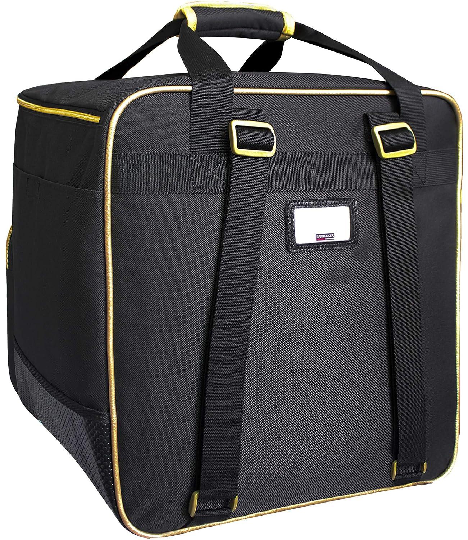 Brubaker Grenoble - Bolsa de Deporte - Mochila para Botas de esquí + Casco + Accesorios - Color Negro/Dorado