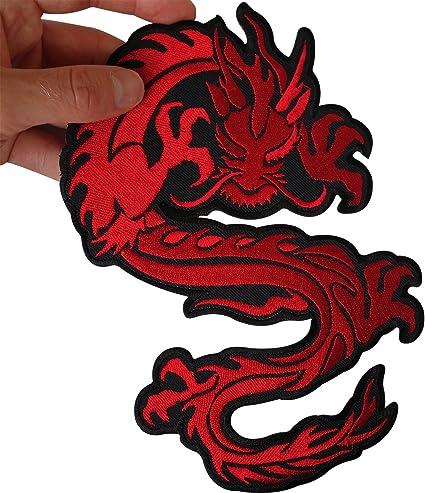 Parche grande bordado con diseño de dragón chino para coser en chaqueta, camisa o motociclista