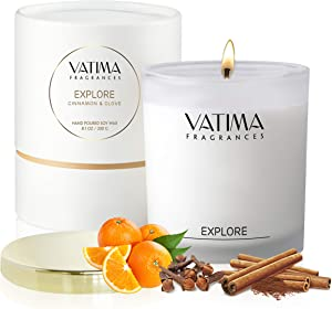 Premium Scented Candles, Relaxation Aromatherapy of Cinnamon Clove and Orange, Natural Soy Candles, Luxury Candle for Home Decor | Long Lasting, Highly Scented, Clean Burn, Candle Gift for Women