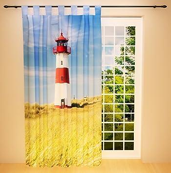 Amazon De Clever Kauf 24 Schlaufenschal Vorhang Gardine Leuchtturm