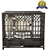 SMONTER Heavy Duty Strong Metal Dog Cage Pet Kennel Crate Playpen with Wheels,Y Shape … … …