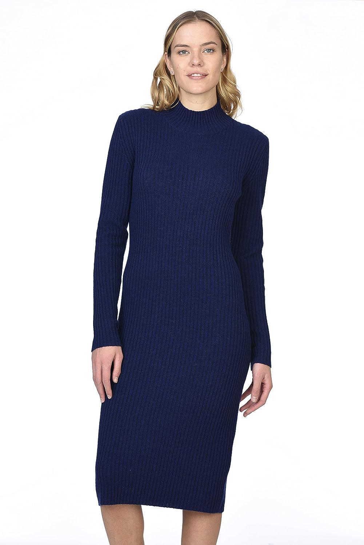 State Cashmere 女性用 100% 天然カシミア タートルネックロングスリーブセータードレス B076J2YY8R Small|ネイビー ネイビー Small