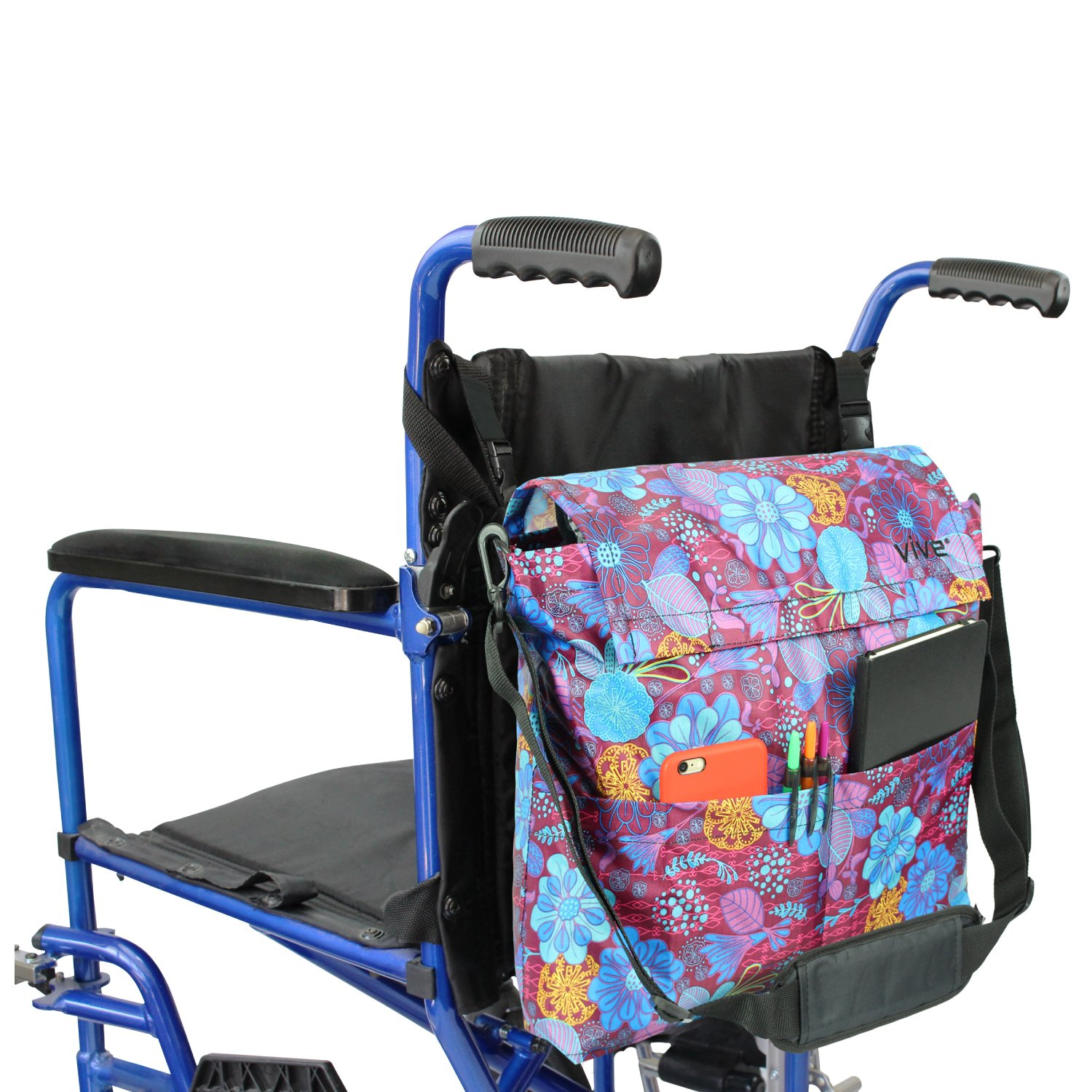 Wheelchair Bag by Vive - Accessory Storage Bag for Carrying Loose Items & Accessories - Travel Storage Tote & Backpack w/ Accessible Pouch & Pockets, Purple Floral