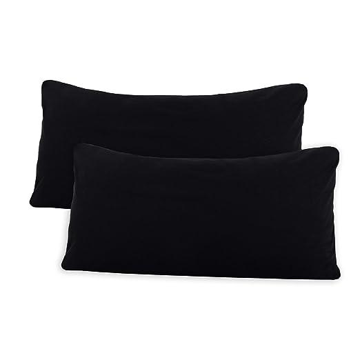 SHC Textilien Conjunto de Dos Fundas de Almohada, Funda de Almohada, Fundas 100% algodón con Cremallera - 15 Colores y 5 tamaños 40x80 cm Negro