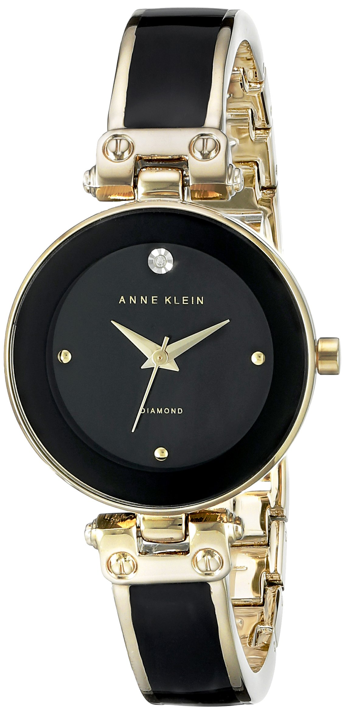 Anne Klein Women's AK/1980BKGB Diamond-Accented