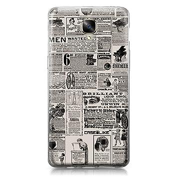 CASEiLIKE Funda OnePlus 3, Carcasa OnePlus 3/3T, Periódico Vintage Publicidad 4818, TPU Gel Silicone Protectora Cover