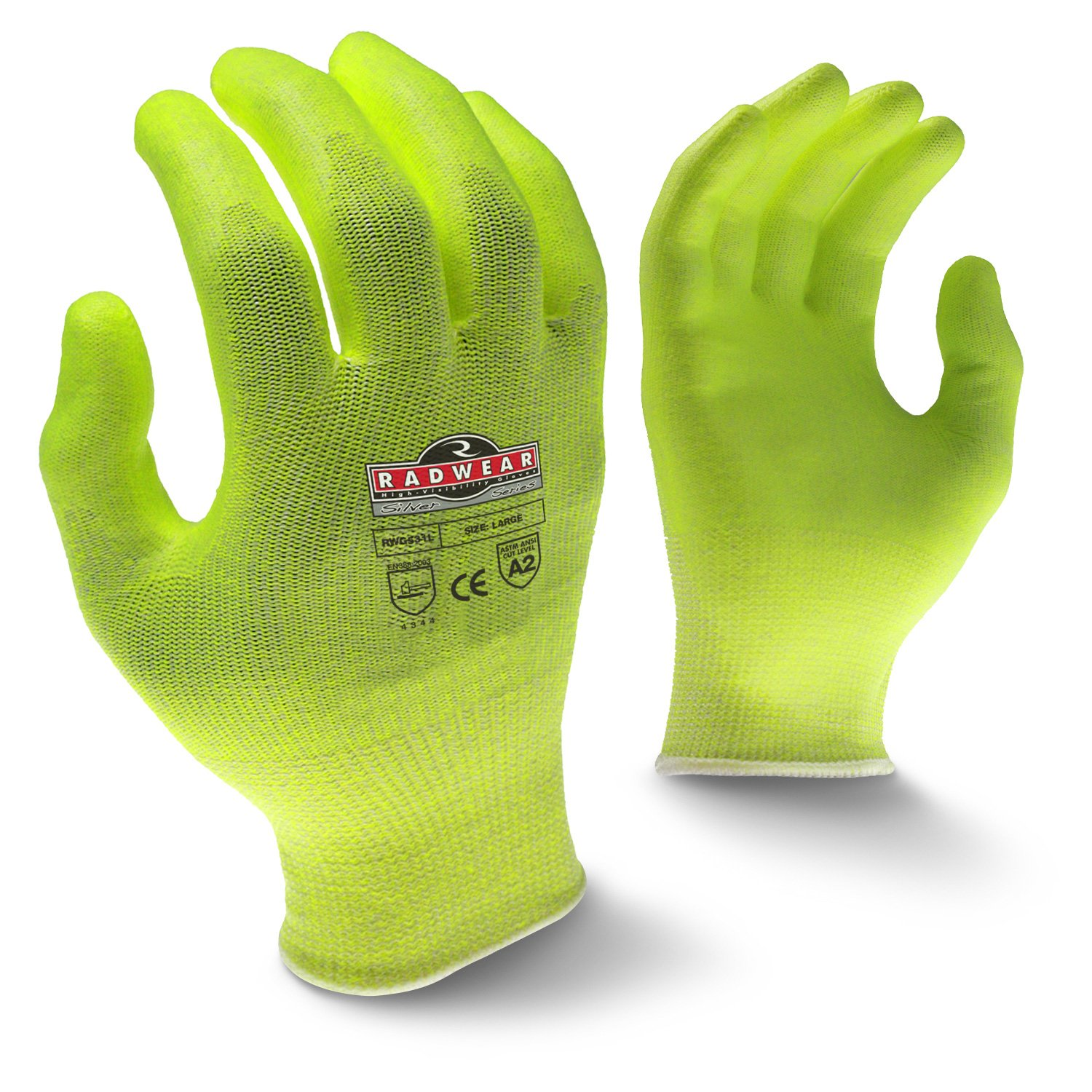 Radians RWG531L Radwear Silver Series Hi-Visibility Cut Level A2 Grip Glove (Dozen) by Radians (Image #1)
