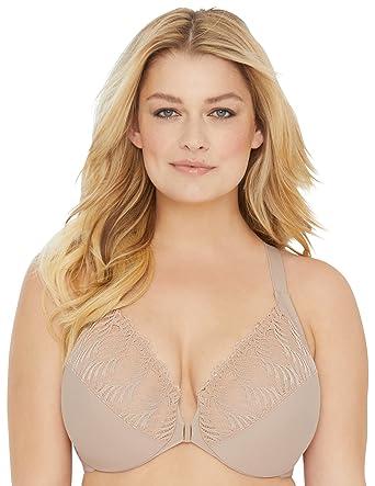 8ff42510867 Glamorise Women s Plus Size Full Figure Front Close Lace T-Back Wonderwire  Bra  1246