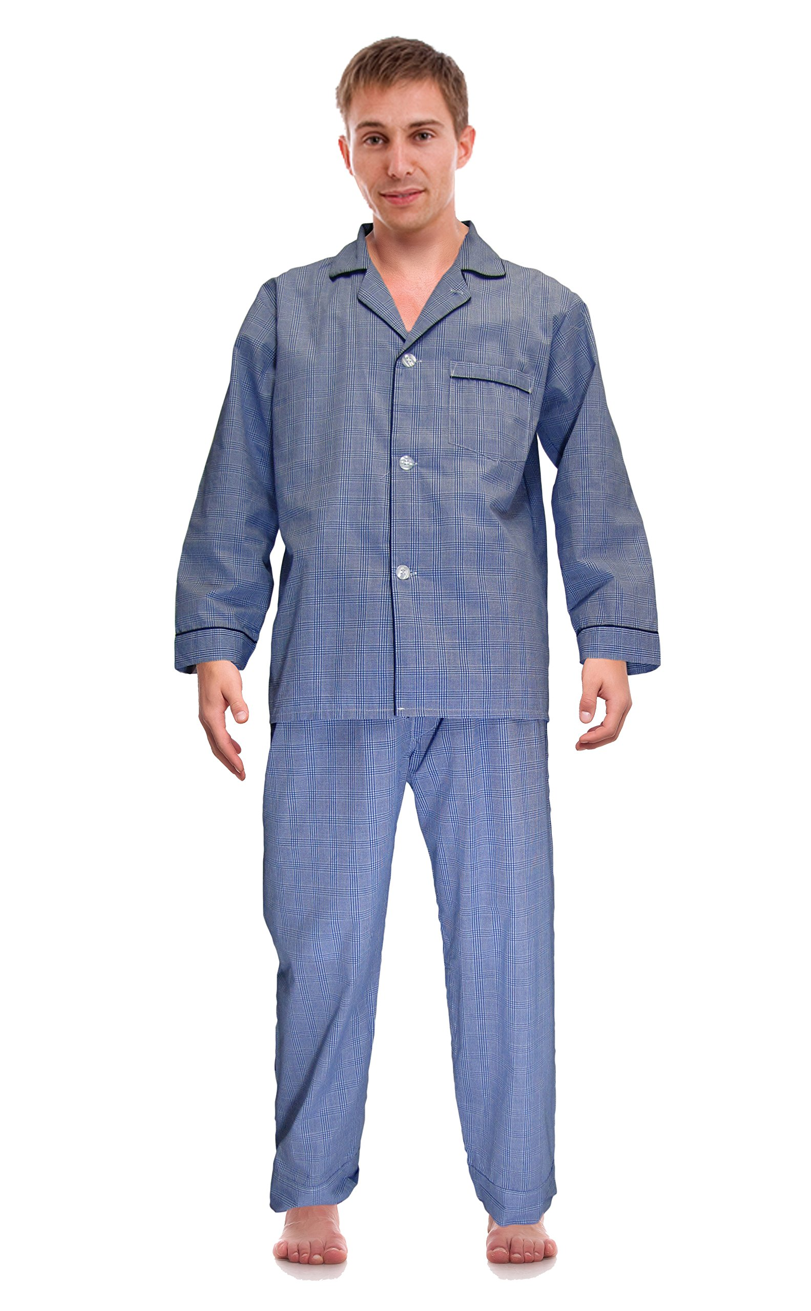 RK Classical Sleepwear Mens Broadcloth Woven Pajama Set, Size Medium, Royal Blue, Plaid by Robes King