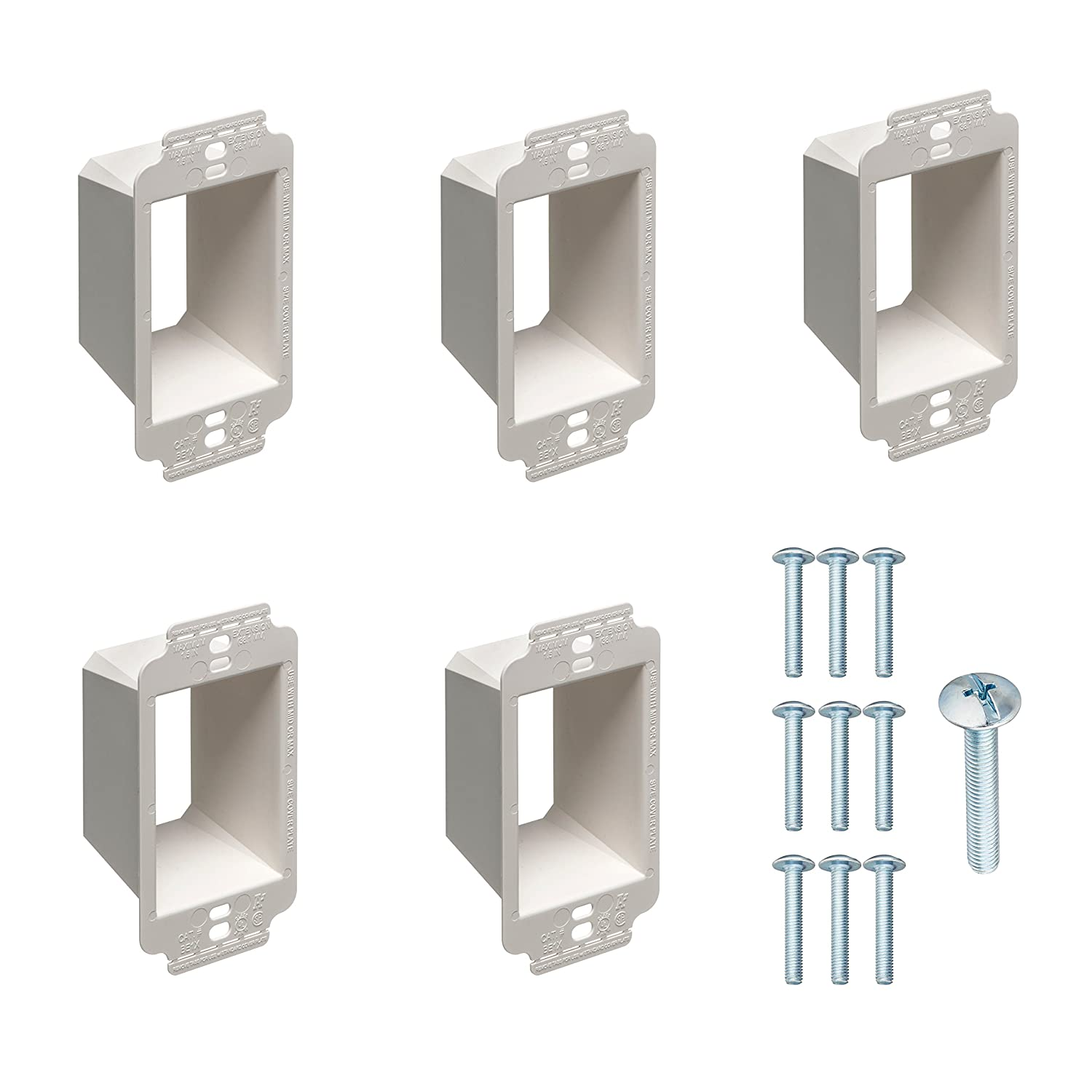 1 Gang Electrical Box Extender with Machine Screws Kit by DoodleYolk Inc. 5 Pack Junction Box Extension 6 32 Truss Head screws. Extra Large Arlington BE1X ring better secures wiring devices