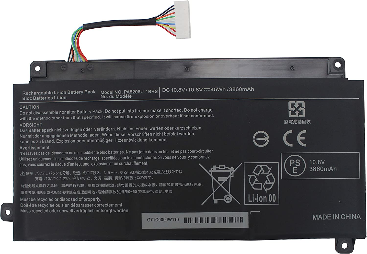 Shareway PA5208U Replacement Laptop Battery for Toshiba Chromebook 2 CB35-B CB35-B3330 Satellite P55W-C P55W-C5200X P55W-C5200D PA5208U-1BRS P000645710 [10.8V 3860Mah]
