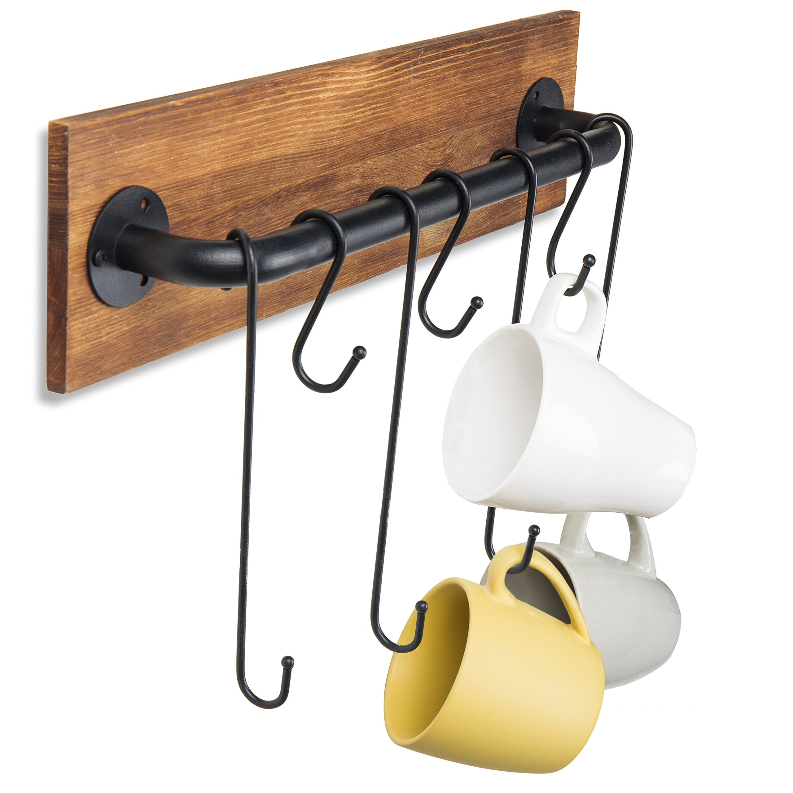 MyGift 7-Hook Rustic Wood & Metal Wall-Mounted Cup Rack by MyGift