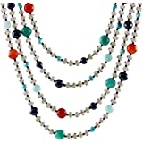 "NOVICA Multi Gem Carnelian Dyed Blue Cultured Freshwater Pearl Stone Necklace, 18"" 'Season Glamour'"