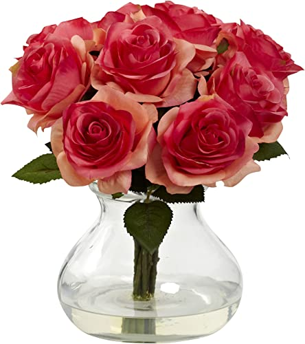 Nearly Natural 1367-DP Rose Arrangement with Vase, Dark Pink