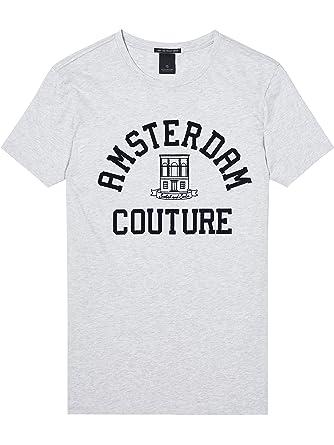 Scotch & Soda Herren T-Shirt Crewneck Tee with Logo Chest Artworks, Grau (
