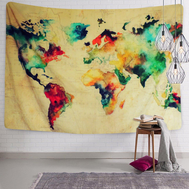 Amazon.com: Retro Watercolor World Map Tapestry Colorful Printed ...