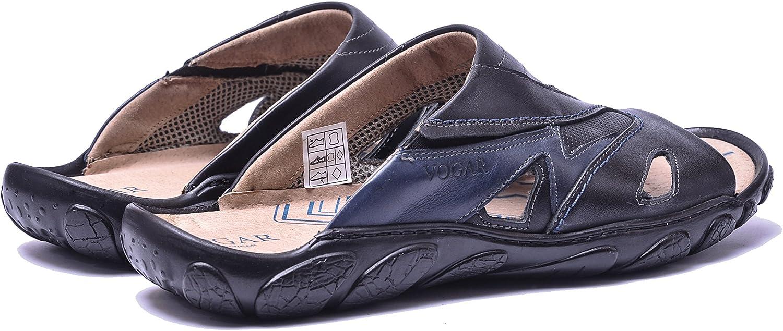 Vogar Hommes Chaussures Ete en Cuir A Enfiler Plates Sandales De Vacances VG1125