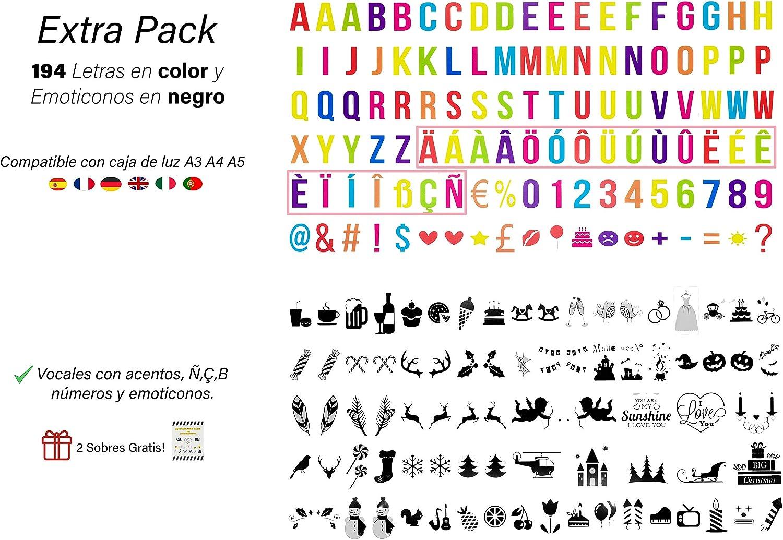 194 letras multicolor y emoticonos negros para letrero luminoso A4, A3 y A5. (sin caja de luz): Amazon.es: Iluminación