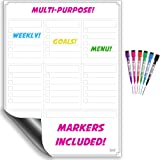 Dry Erase White Board / Magnetic Multi-Purpose Weekly Calendar Organizer For Refrigerator