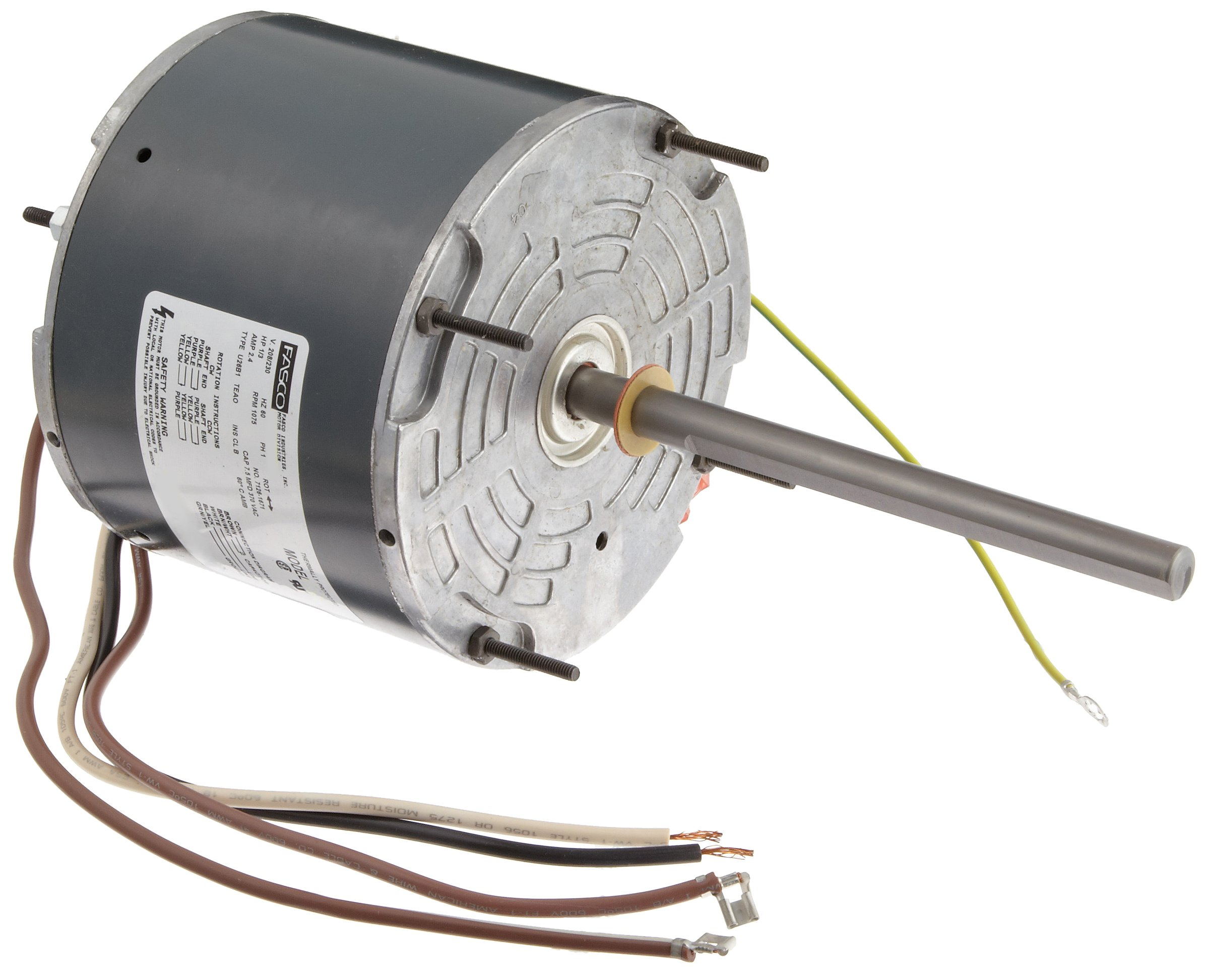 Fasco D908 5.6'' Frame Totally Enclosed Permanent Split Capacitor Condenser Fan Motor with Sleeve Bearing, 1/3HP, 1075rpm, 208-230V, 60Hz, 2.4 amps