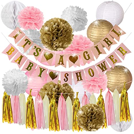 1956fa183dde Pink and Gold Baby Shower Decorations for Girl- IT S A GIRL   BABY SHOWER  Garland