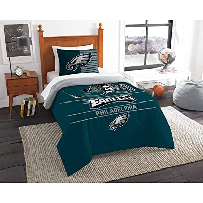 Philadelphia Eagles Bedding Set Sham NFL 2 Piece Twin Size 1 Comforter 1 Sham Football Linen Bedroom Decor Imported for True Fans Draft: Kitchen & Dining
