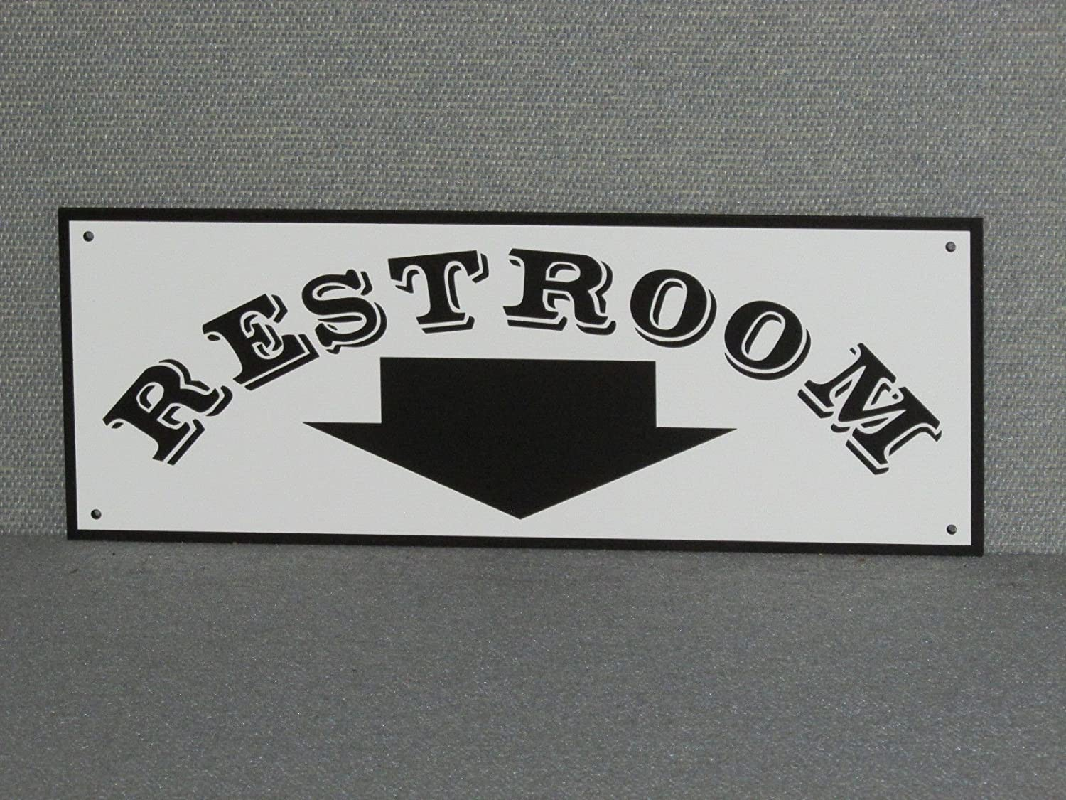 MotorHead Art RESTROOM SIGN WITH ARROW POINTING DOWN CUSTOM BLACK & WHITE WOODEN SIGN