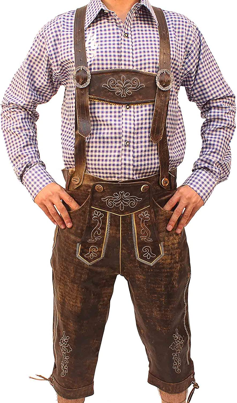 Oktoberfest Bavarian Long Bundhosen Men Authentic German Outfit Brown Wild Brown: Clothing