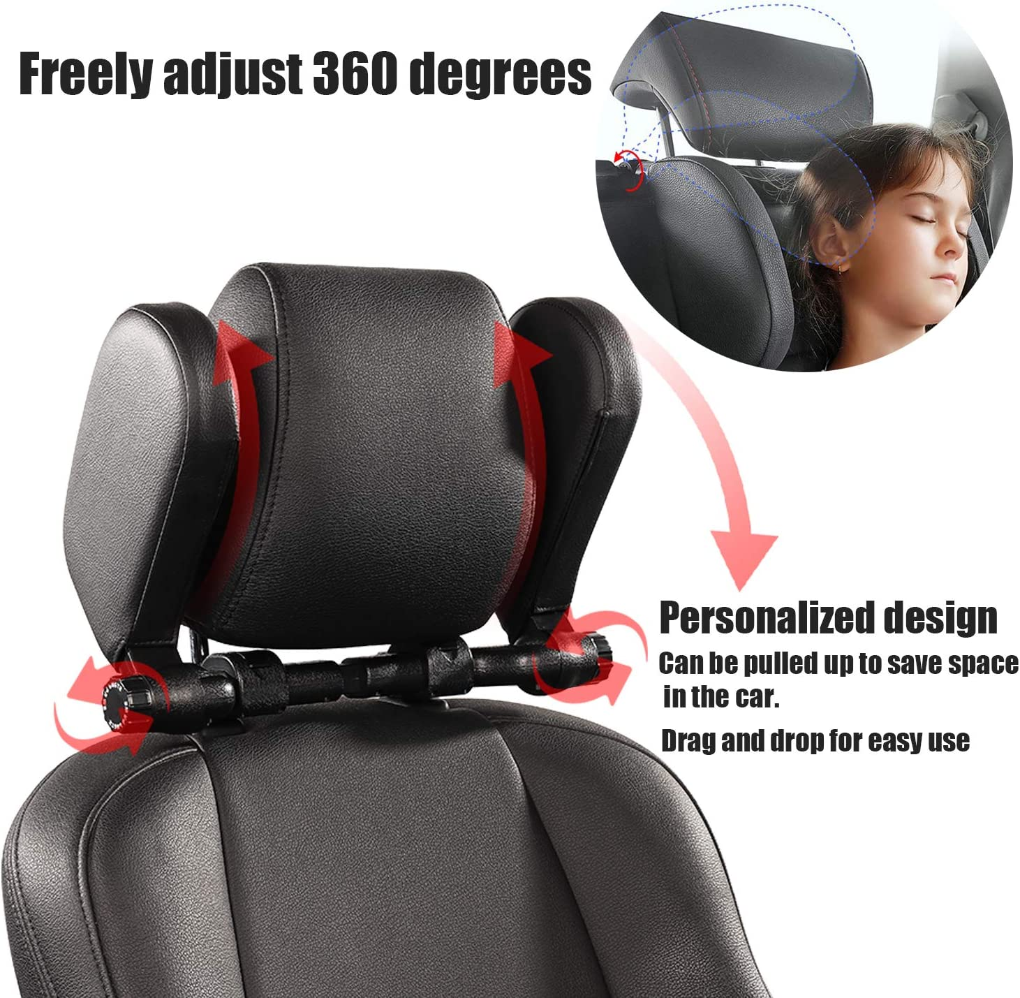atimier Car Seat Headrest Pillow,Car Head Rest for Kids,Sleeping Travel Car Seat Pillow,360 Degree Adjustable on Both Sides Sleep Pillow in The Car Black