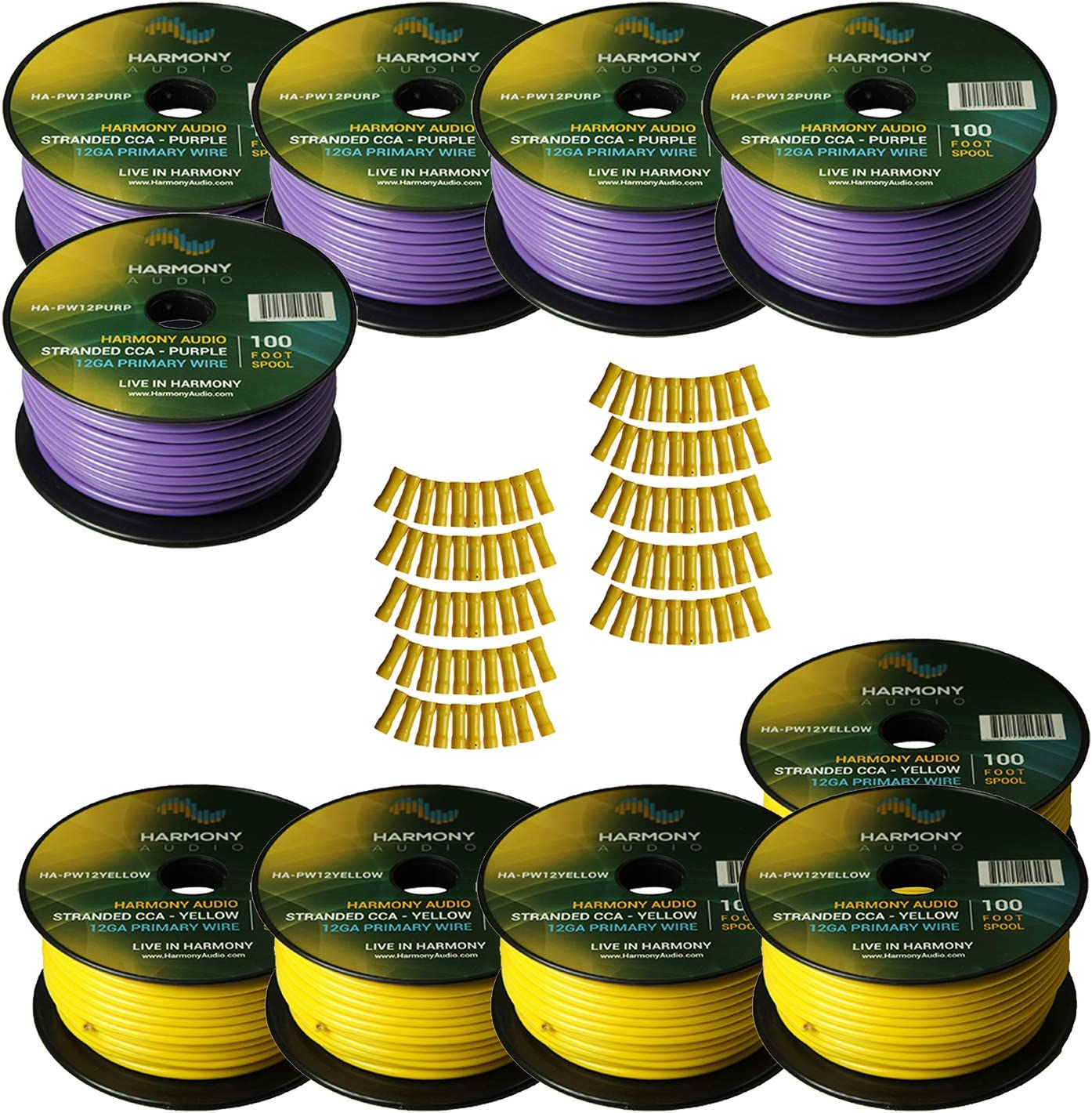 B07L6N9R9G Harmony Audio Primary Single Conductor 12 Gauge Power or Ground Wire - 10 Rolls - 1000 Feet - Yellow & Purple for Car Audio/Trailer/Model Train/Remote 81zddquO2B-L.SL1500_