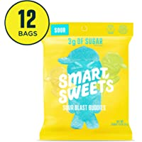 SmartSweets Sour Blast Buddies 1.8 oz Bags (Box of 12), Candy with Low-Sugar (3g) and Low-Calories (80)- Free of Sugar Alcohols and No Artificial Sweeteners