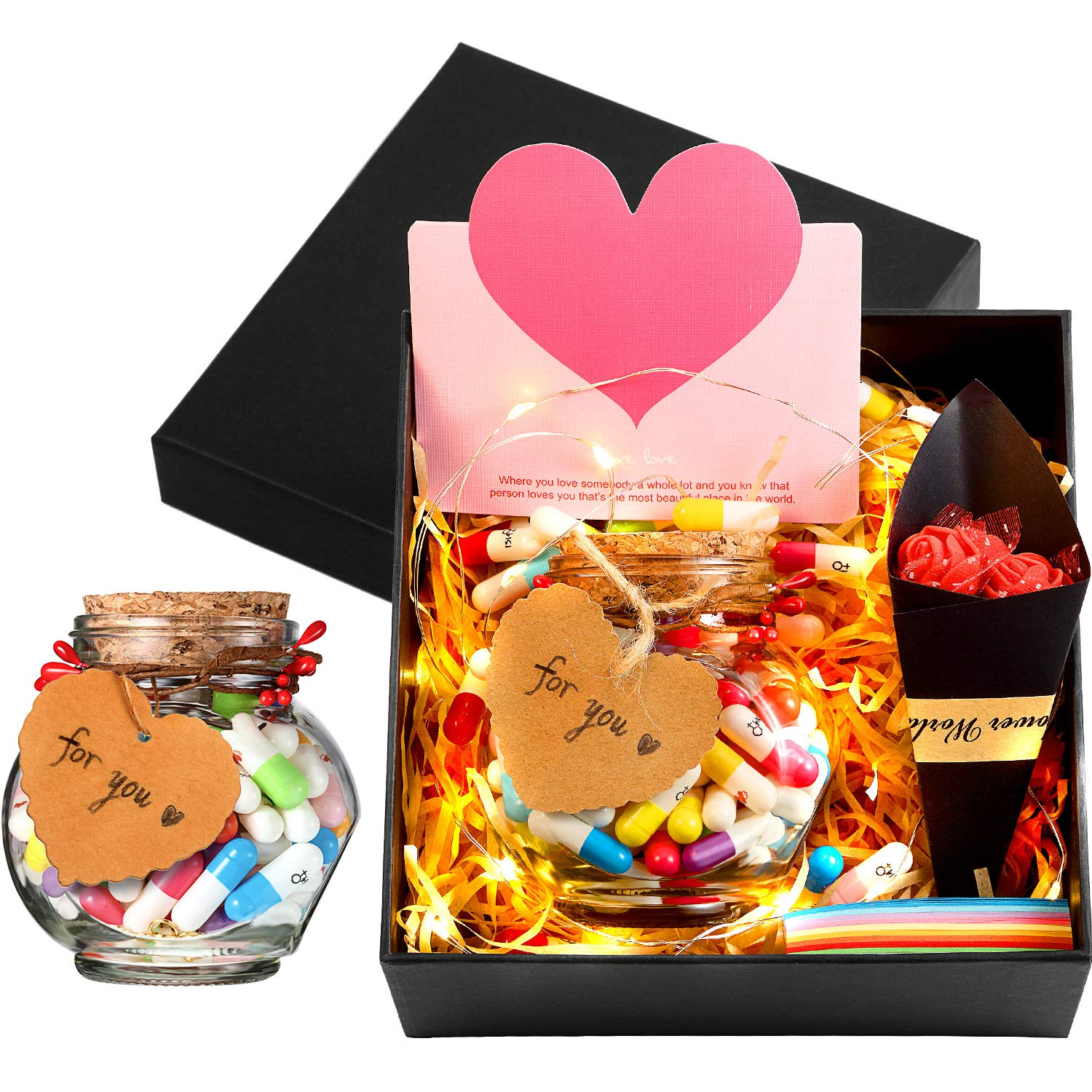 100 Pieces Valentines Day Capsule Letters Message in A Wishing Bottle Friendship Love Half Color Cute Smiling Face Loving Heart Number Birthday Gift