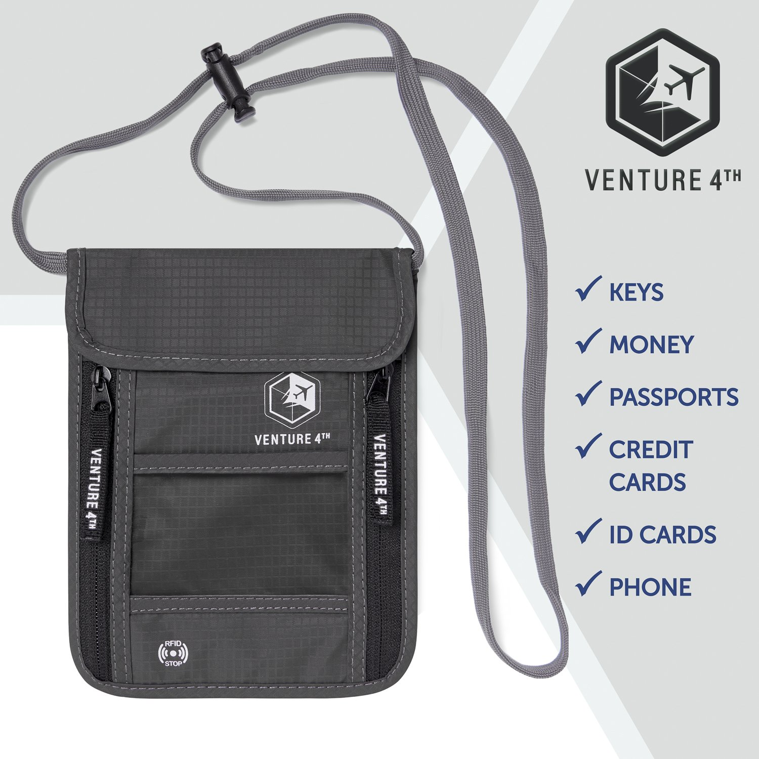 Venture 4th Travel Neck Pouch With RFID Blocking - Travel Wallet Passport Holder (Grey) by VENTURE 4TH (Image #8)