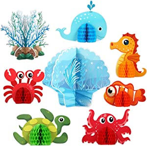 8 Pieces Mermaid Centerpieces Sea Animals Honeycomb Party Supplies 3D Ocean Themed Birthday Decorations for Baby Shower Wedding Pool Party