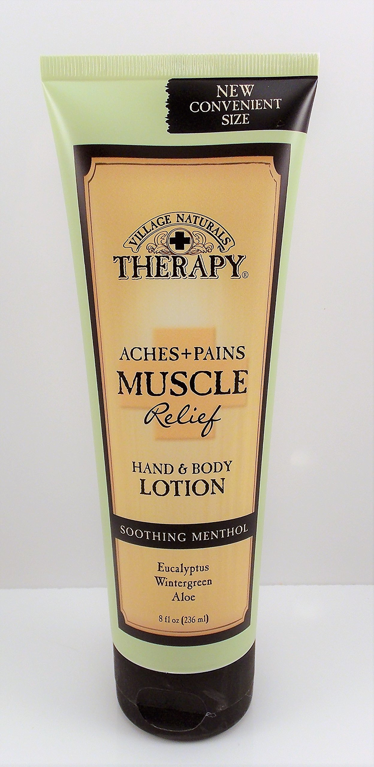 Village Naturals Therapy Aches and Pains Muscle Relief Hand and Body Lotion 8 Ounces