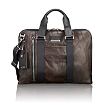 TUMI Men's Alpha Bravo Aviano Slim Brief Briefcase Dark Brown - Leather One Size