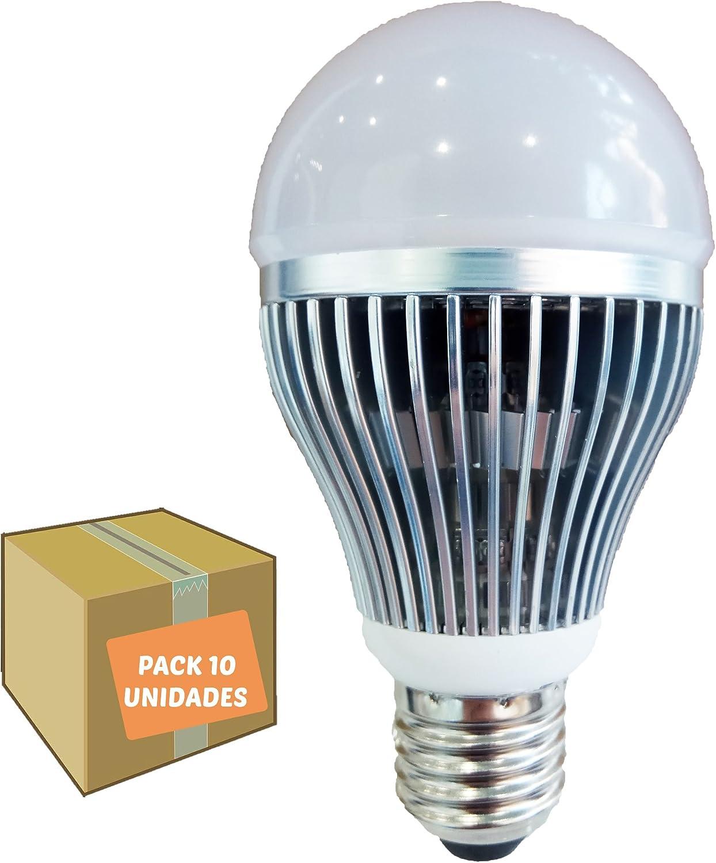 Bombilla LED 9W pack 10 unidades recubierta de aluminio alta calidad y duración luz fría cálida 850 lumens casquillo E27: Amazon.es: Iluminación