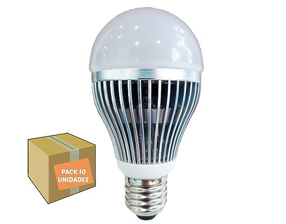 Bombilla LED 9W pack 10 unidades recubierta de aluminio alta calidad y duración luz fría cálida