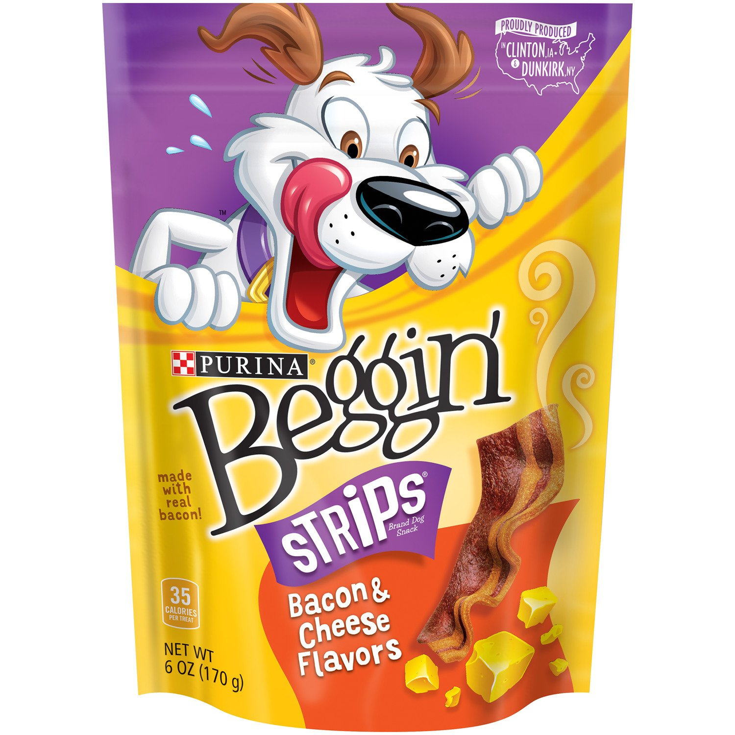 Purina Beggin' Strips Bacon & Cheese Flavors Adult Dog Treats - (6) 6 oz. Pouches