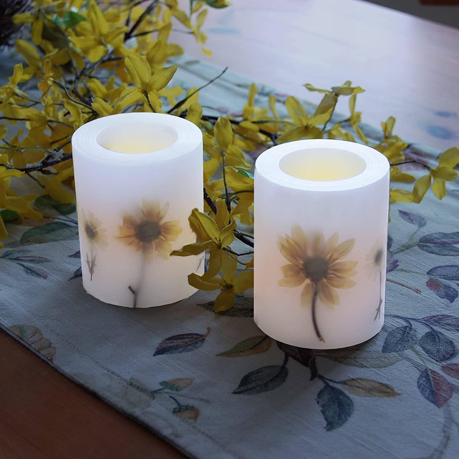 Lumabase 92202 2 Count Dried Flowers Battery Operated LED Candles