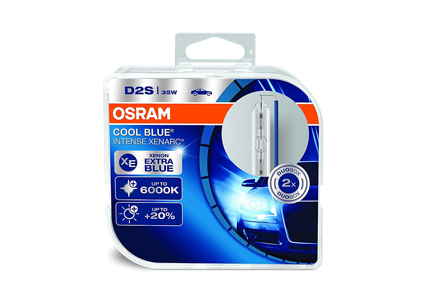 OSRAM Xenarc Cool Blue Intense D2S Xenon Car Headlight Bulbs (Twin) 66240CBI-HCB
