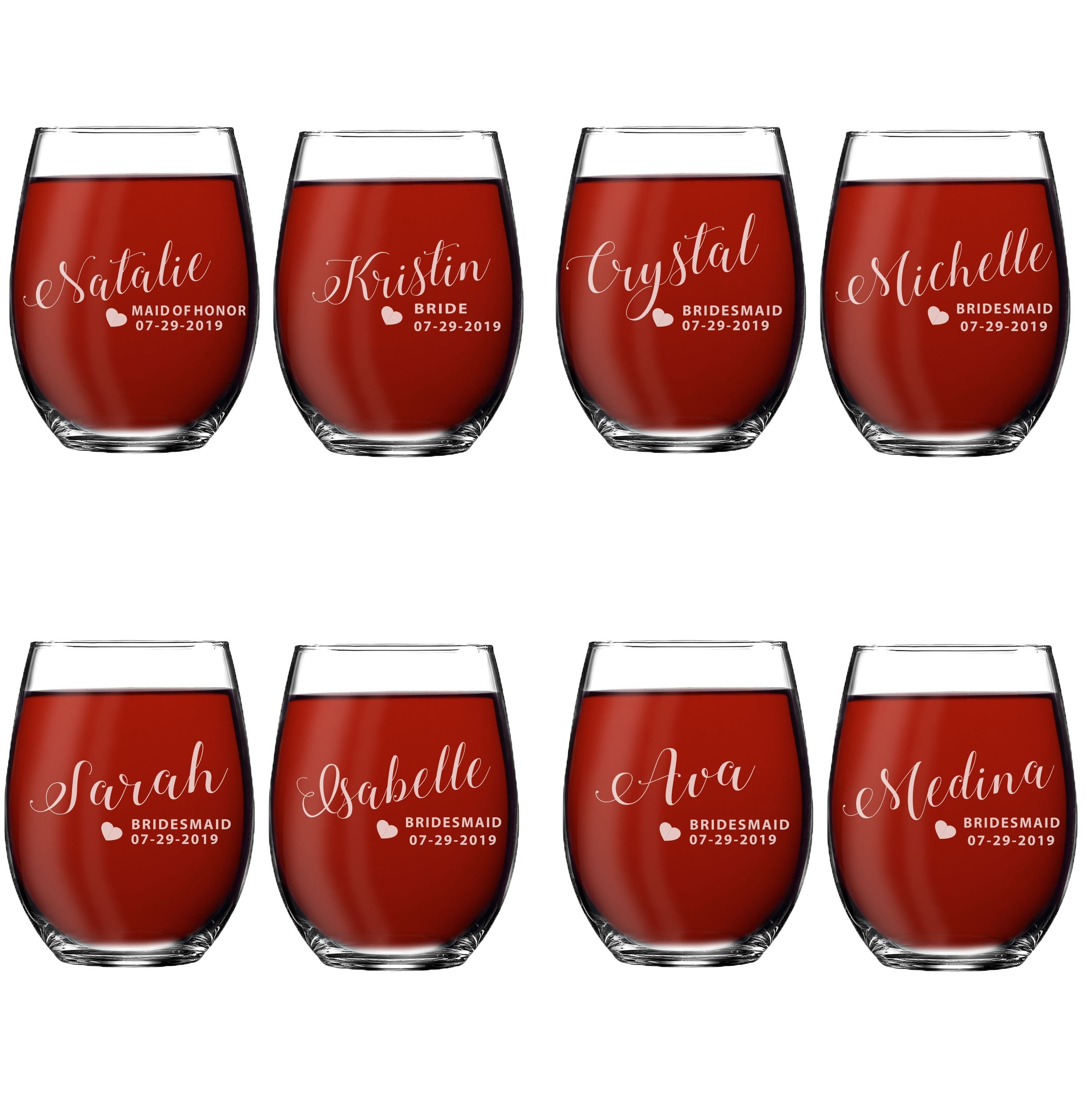 Set of 1, 2, 3, 4, 5, 6, 7, 8 Custom Engraved Bridesmaid Gifts - Personalized Stemless Wine Glasses - Passion Style (8)